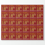 "[ Thumbnail: Red, Imitation Gold Look ""18th Birthday"" Wrapping Paper ]"