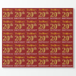 "[ Thumbnail: Red, Imitation Gold Look ""20th Birthday"" Wrapping Paper ]"