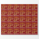 "[ Thumbnail: Red, Imitation Gold Look ""22nd Birthday"" Wrapping Paper ]"