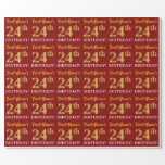"[ Thumbnail: Red, Imitation Gold Look ""24th Birthday"" Wrapping Paper ]"