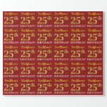"[ Thumbnail: Red, Imitation Gold Look ""25th Birthday"" Wrapping Paper ]"