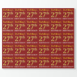 "[ Thumbnail: Red, Imitation Gold Look ""27th Birthday"" Wrapping Paper ]"