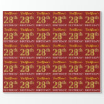 "[ Thumbnail: Red, Imitation Gold Look ""28th Birthday"" Wrapping Paper ]"