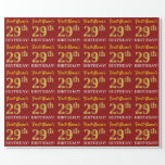 "[ Thumbnail: Red, Imitation Gold Look ""29th Birthday"" Wrapping Paper ]"