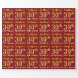 "[ Thumbnail: Red, Imitation Gold Look ""30th Birthday"" Wrapping Paper ]"