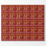 "[ Thumbnail: Red, Imitation Gold Look ""31st Birthday"" Wrapping Paper ]"
