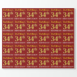 "[ Thumbnail: Red, Imitation Gold Look ""34th Birthday"" Wrapping Paper ]"