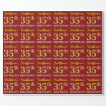 "[ Thumbnail: Red, Imitation Gold Look ""35th Birthday"" Wrapping Paper ]"