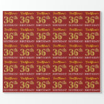 "[ Thumbnail: Red, Imitation Gold Look ""36th Birthday"" Wrapping Paper ]"