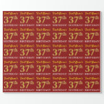 "[ Thumbnail: Red, Imitation Gold Look ""37th Birthday"" Wrapping Paper ]"