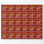 "[ Thumbnail: Red, Imitation Gold Look ""38th Birthday"" Wrapping Paper ]"