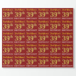"[ Thumbnail: Red, Imitation Gold Look ""39th Birthday"" Wrapping Paper ]"