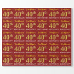 "[ Thumbnail: Red, Imitation Gold Look ""40th Birthday"" Wrapping Paper ]"