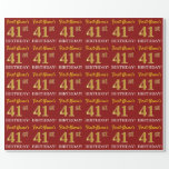 "[ Thumbnail: Red, Imitation Gold Look ""41st Birthday"" Wrapping Paper ]"