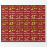 "[ Thumbnail: Red, Imitation Gold Look ""42nd Birthday"" Wrapping Paper ]"