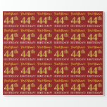 "[ Thumbnail: Red, Imitation Gold Look ""44th Birthday"" Wrapping Paper ]"