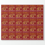 "[ Thumbnail: Red, Imitation Gold Look ""45th Birthday"" Wrapping Paper ]"