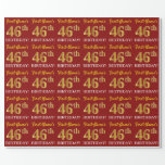 "[ Thumbnail: Red, Imitation Gold Look ""46th Birthday"" Wrapping Paper ]"