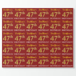 "[ Thumbnail: Red, Imitation Gold Look ""47th Birthday"" Wrapping Paper ]"