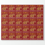 "[ Thumbnail: Red, Imitation Gold Look ""48th Birthday"" Wrapping Paper ]"