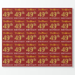 "[ Thumbnail: Red, Imitation Gold Look ""49th Birthday"" Wrapping Paper ]"
