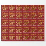 "[ Thumbnail: Red, Imitation Gold Look ""50th Birthday"" Wrapping Paper ]"