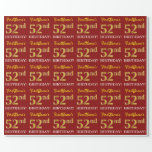 "[ Thumbnail: Red, Imitation Gold Look ""52nd Birthday"" Wrapping Paper ]"