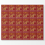 "[ Thumbnail: Red, Imitation Gold Look ""54th Birthday"" Wrapping Paper ]"