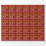"[ Thumbnail: Red, Imitation Gold Look ""55th Birthday"" Wrapping Paper ]"