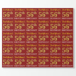 "[ Thumbnail: Red, Imitation Gold Look ""56th Birthday"" Wrapping Paper ]"