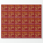 "[ Thumbnail: Red, Imitation Gold Look ""57th Birthday"" Wrapping Paper ]"