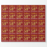 "[ Thumbnail: Red, Imitation Gold Look ""58th Birthday"" Wrapping Paper ]"
