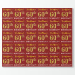 "[ Thumbnail: Red, Imitation Gold Look ""60th Birthday"" Wrapping Paper ]"