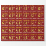 "[ Thumbnail: Red, Imitation Gold Look ""61st Birthday"" Wrapping Paper ]"