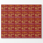 "[ Thumbnail: Red, Imitation Gold Look ""62nd Birthday"" Wrapping Paper ]"
