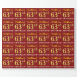 "[ Thumbnail: Red, Imitation Gold Look ""63rd Birthday"" Wrapping Paper ]"