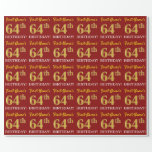 "[ Thumbnail: Red, Imitation Gold Look ""64th Birthday"" Wrapping Paper ]"