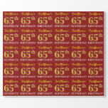 "[ Thumbnail: Red, Imitation Gold Look ""65th Birthday"" Wrapping Paper ]"