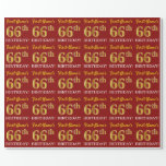 "[ Thumbnail: Red, Imitation Gold Look ""66th Birthday"" Wrapping Paper ]"