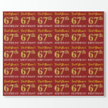 "[ Thumbnail: Red, Imitation Gold Look ""67th Birthday"" Wrapping Paper ]"