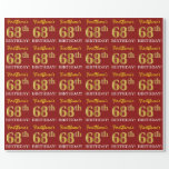 "[ Thumbnail: Red, Imitation Gold Look ""68th Birthday"" Wrapping Paper ]"