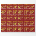 "[ Thumbnail: Red, Imitation Gold Look ""69th Birthday"" Wrapping Paper ]"