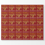 "[ Thumbnail: Red, Imitation Gold Look ""70th Birthday"" Wrapping Paper ]"