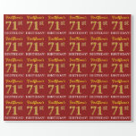 "[ Thumbnail: Red, Imitation Gold Look ""71st Birthday"" Wrapping Paper ]"