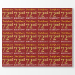 "[ Thumbnail: Red, Imitation Gold Look ""72nd Birthday"" Wrapping Paper ]"