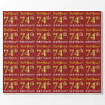 "[ Thumbnail: Red, Imitation Gold Look ""74th Birthday"" Wrapping Paper ]"