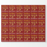 "[ Thumbnail: Red, Imitation Gold Look ""75th Birthday"" Wrapping Paper ]"