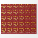 "[ Thumbnail: Red, Imitation Gold Look ""76th Birthday"" Wrapping Paper ]"
