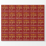 "[ Thumbnail: Red, Imitation Gold Look ""77th Birthday"" Wrapping Paper ]"