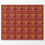 "[ Thumbnail: Red, Imitation Gold Look ""78th Birthday"" Wrapping Paper ]"